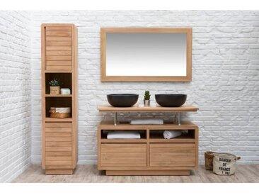 VOGUE Ensemble salle de bain 120 cm en bois teck massif double vasque L 120 cm - Naturel