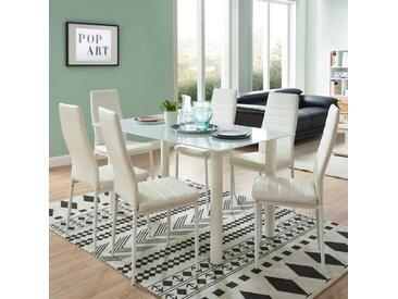 BELAIR table à manger de 4 à 6 personnes style contemporain + 6 chaises en simili  blanc mat - L 140 x l 80 cm