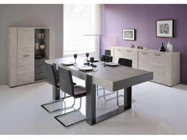 LOFT Ensemble Table à manger 8 à 10 personnes + 2 buffets - Style contemporain - Décor bois et gris