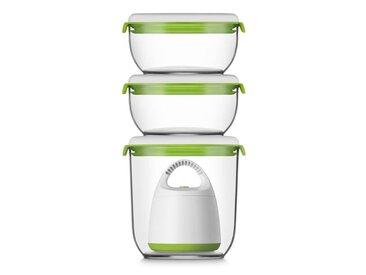 FOSA Kit de mise sous vide alimentaire en récipients 40000 - 1350-600 ml - Blanc et vert