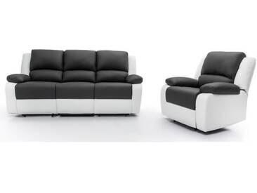 RELAX Ensemble canapé relaxation 3 places + fauteuil - Simili gris et blanc - Contemporain - L 190 x P 93 cm + L 86 x P 90 cm