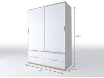 CAPRI Armoire de chambre style contemporain blanc mat et décor sonoma clair - L 140 cm