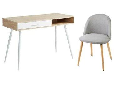 Ensemble Bureau FIFTIES décor chêne pieds en métal + chaise de salle à manger MACARON pieds en bois hêtre massif gris clair