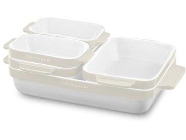 KITCHENAID KBLR05SBAC - Set de 5 plats à four en céramique vitrifiée durable - Blanc et crème