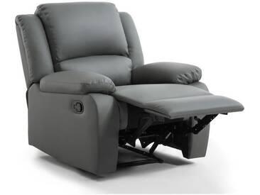 RELAX Fauteuil relaxation - Simili gris - Style contemporain - L 86 x P 90 cm