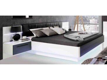 RECOVER Lit adulte contemporain Décor chêne Noir et blanc + Tête de lit en simili - l 160 x L 200 cm