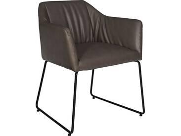 Estar Fauteuil en simili cuir bronze et pieds en acier laqué noir