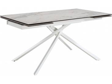 Ela Table de salle à manger à rallonges blanche