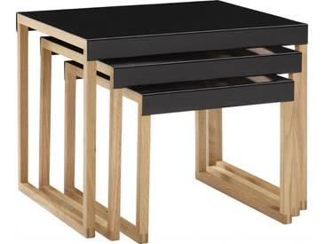 Kilo Tables gigognes en acier laqué noir et pieds en chêne