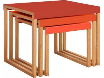 Kilo Tables gigognes en acier laqué rouge et pieds en chêne