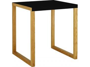 Kilo Table carré en acier laqué noir et pieds en chêne