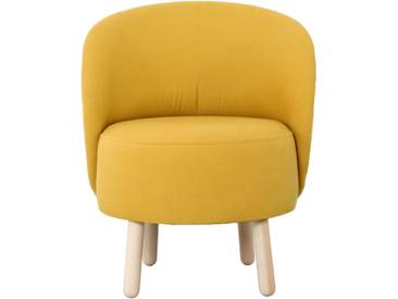 Bold Fauteuil en tissu jaune moutarde