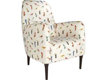 Antoine Fauteuil en tissu motif oiseaux et pieds foncés