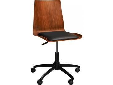 Gandhi Chaise de bureau à roulette en noyer et assise noire