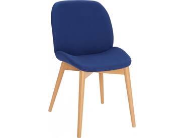 Marta Chaise en tissu bleue et pieds hêtre