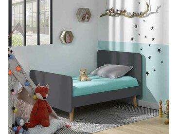 Lit enfant évolutif avec pieds Willow  Gris anthracite 90x140 à 90x190 cm/Opt:Sans barrière de lit