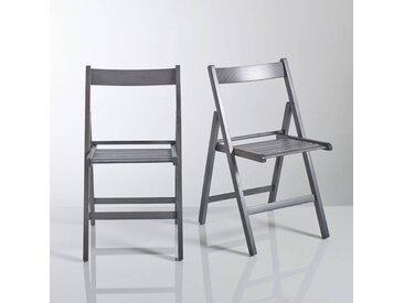 Chaise pliante, hêtre massif, Yann, lot de 2 LA REDOUTE INTERIEURS Gris