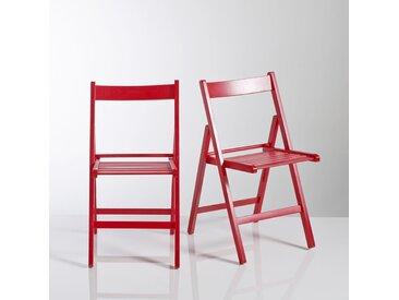 Chaise pliante, hêtre massif, Yann, lot de 2 LA REDOUTE INTERIEURS Rouge