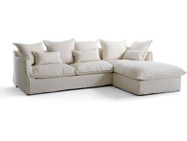 Canapé d'angle fixe en lin froissé,  bultex Odna LA REDOUTE INTERIEURS Blanc
