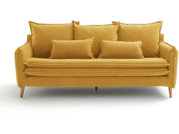 Canapé fixe 3 ou 4 places, coton-lin, Oceano LA REDOUTE INTERIEURS Moutarde