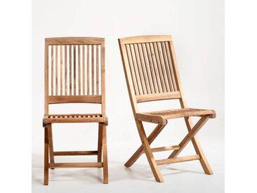 Chaise pliante, teck, lot de 2 LA REDOUTE INTERIEURS Bois Clair
