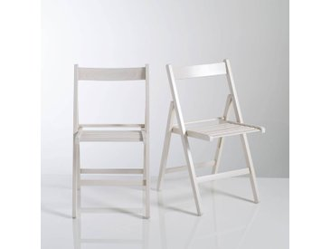 Chaise pliante, hêtre massif, Yann, lot de 2 LA REDOUTE INTERIEURS Blanc