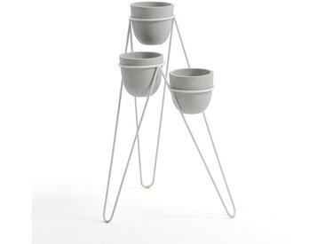 Porte-plantes Flower, en métal et céramique LA REDOUTE INTERIEURS Blanc/Gris