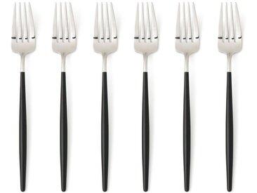 Lot de 6 fourchettes inox Barbule AM.PM Inox/Noir