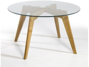 Table ronde verre et chêne Ø130 cm, Kristal AM.PM Chêne Naturel