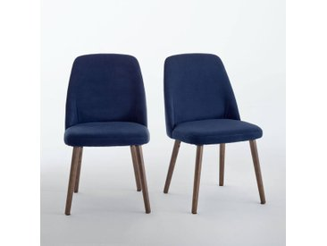 Chaise velours et noyer, WATFORD, (lot de 2) LA REDOUTE INTERIEURS Bleu Foncé