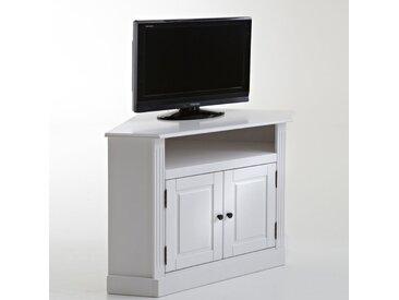 Meuble TV d'angle, pin massif, Authentic Style LA REDOUTE INTERIEURS Blanc