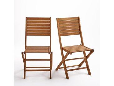 Chaise pliante, eucalyptus (lot de 2), Euka LA REDOUTE INTERIEURS Bois Clair Eucalyptus