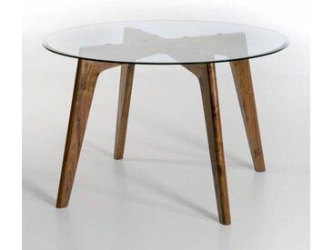 Table ronde verre et noyer Ø130 cm, Kristal AM.PM Noyer