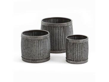 3 cache-pots Globosa, en zinc, empilables LA REDOUTE INTERIEURS Zinc