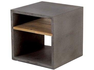 Cube de rangement béton et acacia 40X40 cm gris foncé Hermitage - ZAGO
