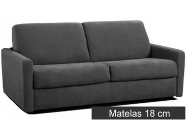 Petit canapé lit Rapido en microfibre avec matelas épais 18 cm 3 places - lit 140 cm Gris foncé - Tissu microfibre