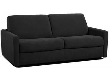 Petit canapé lit Rapido en microfibre avec matelas épais 18 cm 2 places - lit 120 cm Noir - Tissu microfibre