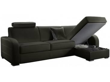 Canapé dangle convertible réversible en cuir 6 places - lit 160 cm Gris anthracite - Cuir deluxe