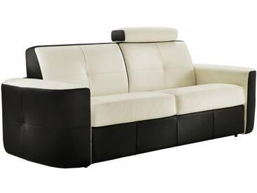 Canapé lit convertible en cuir bicolore système Rapido 3 places - lit 140 cm Blanc / Noir - Cuir deluxe