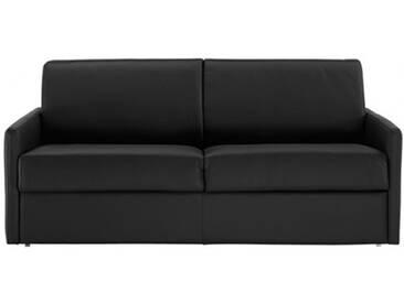 Canapé lit rapido en cuir avec accoudoirs fins 2 places - lit 120 cm Noir - Cuir deluxe