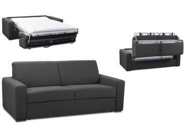 Canapé convertible rapido en tissu coton ouverture express 3 places - lit 140 cm Gris anthracite - Tissu coton