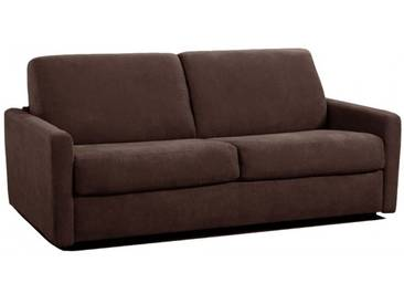 Petit canapé lit Rapido en microfibre avec matelas épais 18 cm 3 places - lit 140 cm Marron - Tissu microfibre