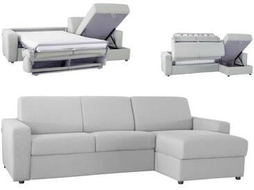 Canapé dangle convertible réversible en microfibre EXPRESS Gris clair - Tissu microfibre 4 places - lit 120 cm