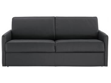 Canapé lit rapido en cuir avec accoudoirs fins 4 places - lit 160 cm Gris anthracite - Cuir deluxe