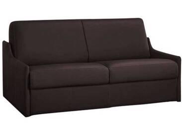 Canapé lit compact gain de place en cuir ouverture express 3 places - lit 140 cm Marron - Cuir + synderme