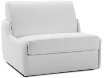 Fauteuil lit en cuir sans accoudoir Blanc - Cuir deluxe 1 place - lit 75 cm