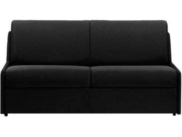 Canapé lit gain de place sans accoudoir 3 places - lit 140 cm Noir - Tissu coton
