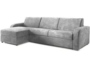 Canapé lit dangle avec coffre réversible en tissu microfibre Gris clair - Tissu microfibre 4 places - lit 120 cm