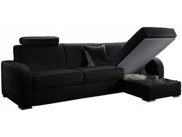 Canapé dangle convertible réversible en cuir Noir - Cuir + synderme 5 places - lit 140 cm
