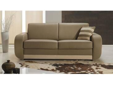 Canapé lit Rapido en cuir beige pour couchage quotidien 3 places - lit 140 cm Beige - cuir deluxe